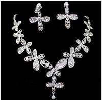 Bridal Jewelry Alloy Rhinestone Butterfly Necklace Earrings Set