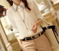Women Blouses Striped 2014 New Button Regular Hot Trendy Cozy Shirt Wild Slim Fashion Blouse Elegant Cute Chiffon Korean Style