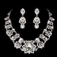Top Quality With Crystal Luxury Necklace Earrings Wedding Engagement Women Jewelry Sets