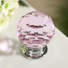 novo 10pcs/lot 30mm cristal rosa vidro puxadores puxadores e puxa porta do armário alças puxadores armários de cozinha gaveta puxa(China (Mainland))