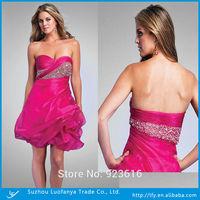 Latest design 2014 custom made sweetheart sleevless with beaded  organza short prom dress