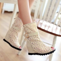 European sexy lace fish mouth boots in spring and summer 2014 Tide female thick wedge bottom Martin boots Free shipping