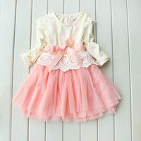 Korean Girls Princess Lace Long-sleeved Dress Winter & Autumn Girls Lace Princess Dress 5pcs/lot 3 Colors Free Shipping