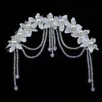 Hand Lace Pearl Bridal Hair Accessories Crystal Flower Hairwear