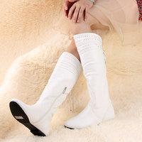 2014 ms age season fashion flat with diamond zipper institute wind female boots free shipping