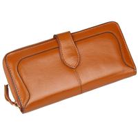 Fan Ke multifunctional large capacity leather zipper bag ladies long wallet oil wax leather wallet multiple screens