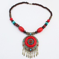 New Tibetan Boho Fashion Jewelry Women's Ethnic Vintage Beads Red Statement Pendant Necklace Accessories Free Shipping#110264