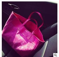 New Arrival womens fashion nubuck leather handbag shoulder shopping bag big  rose red and black purses and handbags on sale