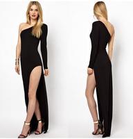 Women's dress, Oblique strapless  irregular dresss olid color, long sleeve side split