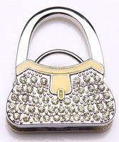 Shimmery Yellow bag shape table foldable handbag purse handger hook Christmas gifts