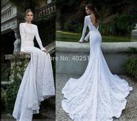 2014/2015 Year Hot Sale Long Sleeve Wedding Dresses Lace Sweep Train Mermaid/Trumpet Zipper Sash Natural Long Wedding Gowns