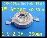 45mil Chip Amber/Yellow  Power LED 1watt 585-595nm  Chip 40-50lm 50pcs/lot