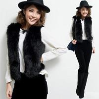 Wild single product straight black hair grass women leather vest Korean female imitation shawl waistcoat vest multicolor