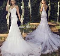luxurious Long Wedding Dresses Appliques Sleeveless Mermaid/Trumpet Lace Backless Natural Waistline Simple Bridal Dresses