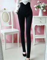 autumn winter Elastic fabric Women Pants Black handsome Long super High waist Trousers tight  plus size S-XL