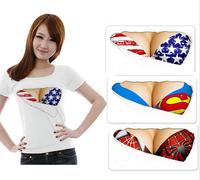S-XL 2014 New Fashion Woman cotton 3D T shrts men funny print fake naked big chest Bra t-shirt tops tees lace bra Hot t shirt 3d