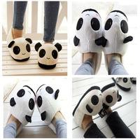 Hot Winter Women Men Soft Cute Panda Face Cartoon Winter Warm Plush Anti-slip Indoor Home Slippers Household Thermal Shoes