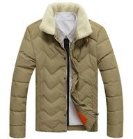 Casual solid 100% white duck down men winter jacket parka size M--XXXL