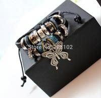 3pcs/lot Genuine Leather Butterfly Charm Handmade Wrap Fashion Bracelet Wristband Adjustable Drop shipping
