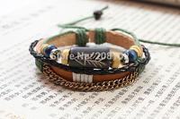3pcs/lot  Wholesale Handmade Fashion Fish OX Bone Bracelet Unisex Beaded Woven Leather Bracelet