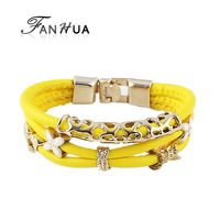 Braceletes Pulseiras for Christmas Gift Yellow PU Leather Bracelets and Bangles with Flower Decoration