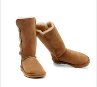 Free shipping 2014 New Women lady australia high genuine Leather Snow warm winter button Boots motorcycle first walker Shoes