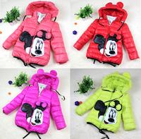 2014 Girls hooded jackets Boys Cotton-padded Cartoon Coat Girl's winter Outerwear coats Free shipping