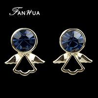 Blue Figure Shape Stud Earrings Brincos Bijuterias New Designer Fashion  Evening Earrings For Women