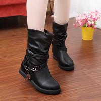 2014 New fashion autumn boots low-heeled martin boots elevator metal decoration medium-leg women boots tx