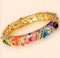3 Color Cloisonne Thriving Crystal Bracelet Women Wide opening Bangles inner dia 57mm width 13mm