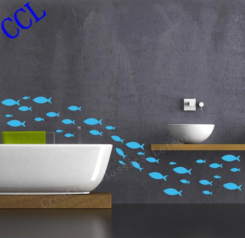 Free Shipping 35 fish / Lot Fish vinyl wall decal bathroom decor , Bathroom wall sticker Ocean Fish Scene(China (Mainland))