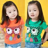 2014 summer owl girls clothing baby child short-sleeve T-shirt  test sicibay tx-0861