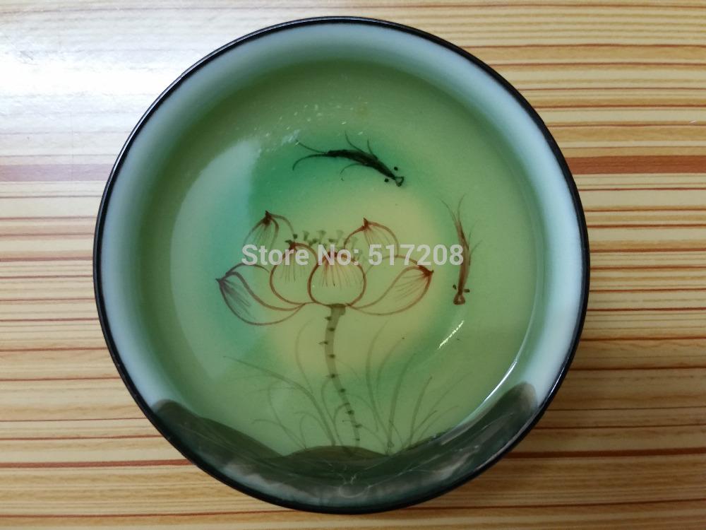 2pcs lot boutique porcelain tea cup handpainted lotus fish design good quality big cup 80ml fine