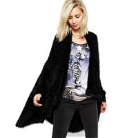 FREE SHIPPING new 2014 autumn winter Plus Size simple fashion Long fluff loose asymmetric women fur coat  XS-XXL