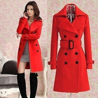 2014 Women's Red trench slim winter warm coat long wool jacket outwear with belt