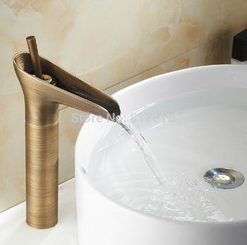 Одной ручкой ванной бассейна мойки античная латунь водопад носик кран se504