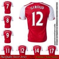 Free shipping ORI version football club GIROUD soccer jersey home red shirt 2014 2015 OZIL jerseys arteta thai quality size S XL