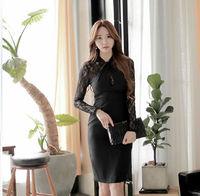 Winter 2014 women's sexy black stretch lace evening leisure Slim Bodycon pencil skirt Vestidos hollow elegant dress