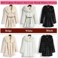 Women Winter Fur Coat Drawstring Fashion Leather Grass Overcoat Mink Fur Collar Warm Winter Parka Plus Size Biege Black White