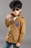 The new 2014 cuhk children's han edition coat The boy windbreaker long children zipper unlined upper garment to coat