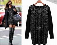 New 2014 Hot Selling Casual Black Lace Cotton Party Dresses Women Winter DressPlus Large Size Ladies Vestidos Women Clothing