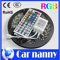 Colorful Led strip Black PCB Board 5050SMD RGB LED Strip 5M IP65 Led Tape Waterproof 300 LEDs/Roll +44 keys IR Remote