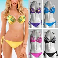 2015 New Sexy Plus Size Bikini Big Size Swimwear Push Up Low Waist With Handmade Flower 6Colors XS-XL Wholesale And Dropship