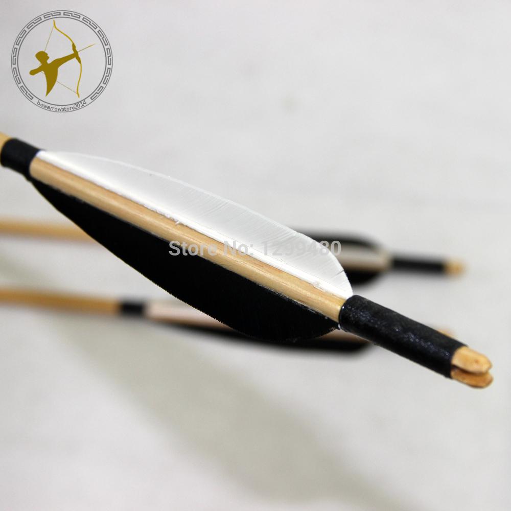 Hot 3 Pcs Free Shipping Wood Shaft Arrow Self Nock Point Head White and Black Turkey