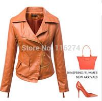 2014 Yellow Black Leather Zipper Autumn Women Jacket Cheap Slim Girls Locomotive Suit Jackets Coats In Stock MYK037