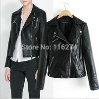 2014 Black Leather Zipper Women Jacket Cheap Fashion Locomotive Suit Autumn Jackets Coats In Stock MYK031