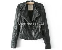 2014 Black Leather Women Jacket Coats Fashion Locomotive Suit Long Sleeves Slim Winter Autumn Jackets Coat In Stock 029