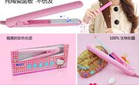 Free shipping Mini Pink Ceramic Electronic hair straighteners 220-240V Straightening corrugated Iron