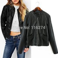 2014 In Stock Black PU Leather Women Jacket Hot Sale Cheap Locomotive Suit Autumn Jackets Coat MYK039