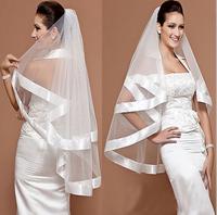 Bridal veil wedding veil double layer ribbon white or ivory veil ts202